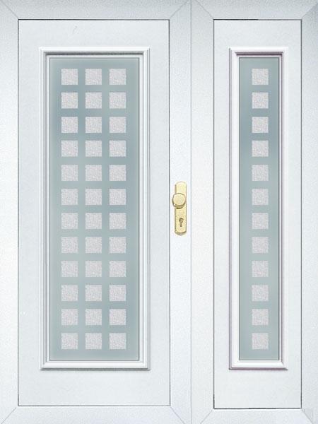 Kétszárnyú bejárati ajtó oldal és felülvilágítóval