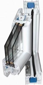 7 kamrás ablak profil, 3 réteg üveg.